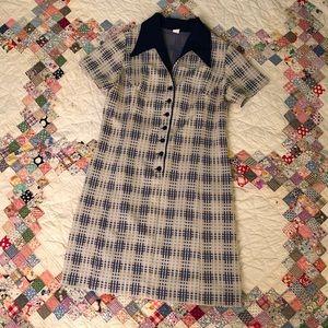 70s grid plaid dagger collar polyester dress